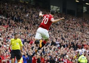 Manchester United's Robin van Persie celebrates after scoring.