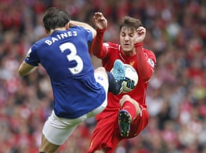 Liverpool's Adam Lallana goes up for a 50/50 ball with Everton's Leighton Baines