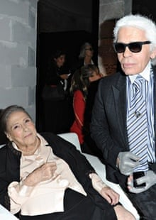 Aghion and Karl Lagerfeld at Chloé's 60th anniversary celebration in 2012.