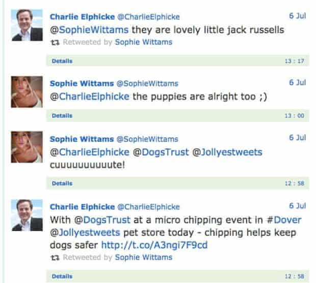 Twitter correspondence between Charlie Elphicke and @SophieWittams