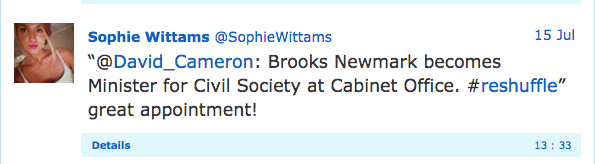'Sophie Wittams' appears to celebrate Brooks Newmark's appointment as minister for civil society in a tweet to David Cameron.
