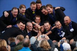 The European team celebrates