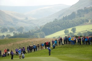 Gallacher hits from the fringe of the fairway
