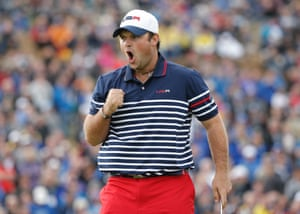 Patrick Reed of the United States celebrates his putt on the 11th green