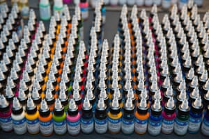 Bottles of tattoo ink are displayed during the 10th International Tattoo Convention in London