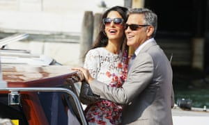 George Clooney and Amal Alamuddin in Venice on Sunday.