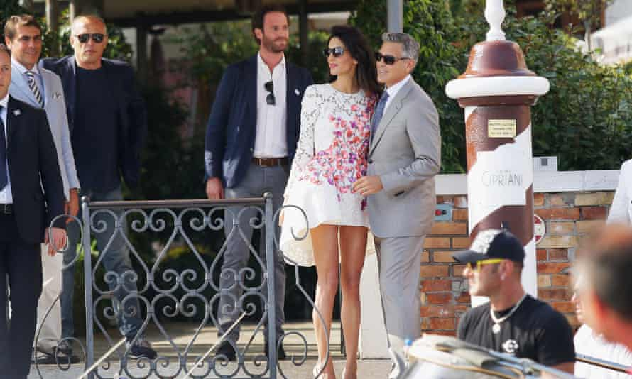 George Clooney and Amal Alamuddin at Hotel Cipriani.