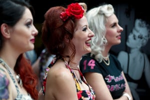 Contestants of the Pin Up Competition at the 10th London International Tattoo Convention, east London.