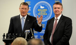 The Victorian premier Denis Napthine and minister for transport Terry Mulder after signing the East West Link contract.