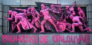 The Soviet Army monument in Sofia was painted pink in 2013