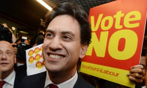 Labour Party leader Ed Miliband on the campaign trail in Edinburgh on 16 September 2014.