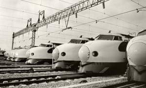 Shinkansen bullet trains at a depot in Fukuoka in 1975.