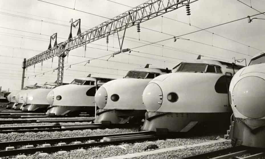 Shinkansen bullet trains at a depot in Fukuoka in 1975.