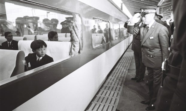 Prince Hiro on board a Shinkansen bullet train  in 1968.