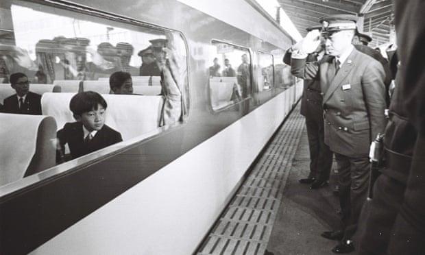 Prince Hiro on board a Shinkansen bullet train  in 1968.