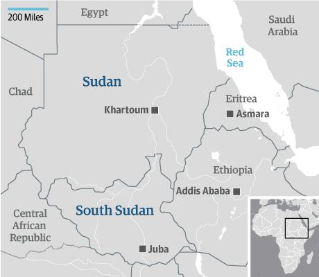 South Sudan and Sudan map