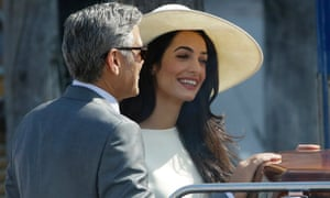 George Clooney and Amal Alamuddin in Venice on Monday.