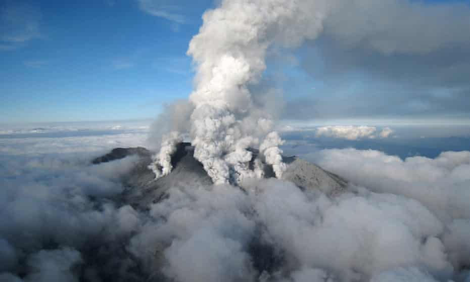 The eruption of the Mount Ontake in central Japan.