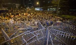 Student protestors attend an overnight mass sit-in in front of Hong Kong's central government offices.