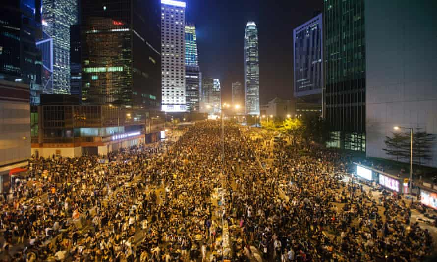 Pro-democracy protesters gather outside the Hong Kong government headquarters.