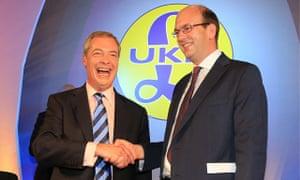 Ukip leader Nigel Farage (left) shakes hands with former Conservative MP Mark Reckless in Sept 2014
