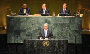 Al Gore, Chairman of Generation Investment Management, speaks during the opening ceremony of the climate summit at the UN headquarters.