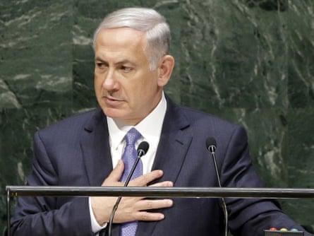 Netanyahu addresses the general assembly.