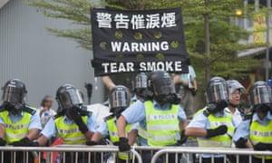 Hong Kong police prepare to fire tear gas
