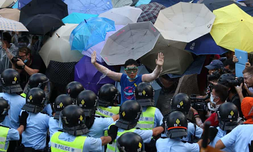 A pro-democracy demonstrator in Hong Kong