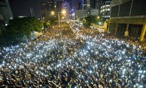 Protestors outside the headquarters of Legislative Council in Hong Kong on 29 September 2014