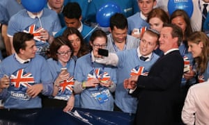 Conservative party activists in selfie with David Cameron