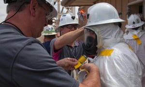 Workers prepare to enter the WIPP in New Mexico