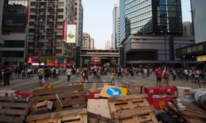 Barricades block a crossroad controlled by activists in Mongkok in Kowloon.