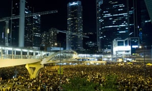 Protestors gather in Admiralty district alongside students during a protest outside the headquarters of the legislative council in Hong Kong.