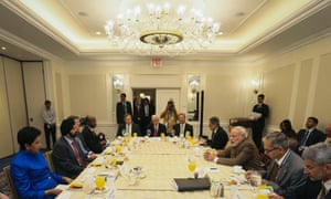 Indian Prime Minster Narendra Modi (3rd R) attends a breakfast meeting with CEOs in Manhattan.
