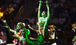 Dancers perform before India's Prime Minister Narendra Modi speaks at Madison Square Garden.