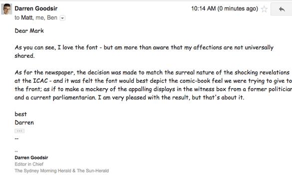 Darren Goodsir response to Comic Sans