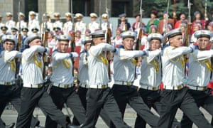 Ukrainian military forces parade in Kiev's Independence Square