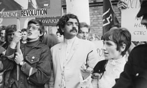 Tariq Ali at a protest outside the Russian Embassy in London, August 1968