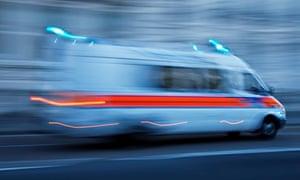 A speeding police van