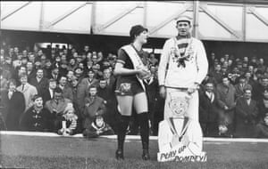 The Portsmouth mascot, right, with Miss Pompey Fan Penelope Johns at the club's Fratton Park ground in January 1967.