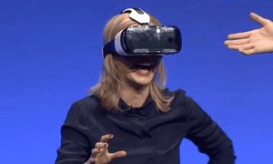 Presenter Rachel Riley demonstrates the Samsung Gear VR at IFA in Berlin.