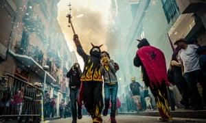 Children in devil costumes in Barcelona