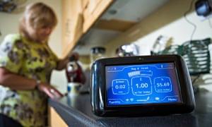 Deborah in her kitchen with her British Gas smart meter
