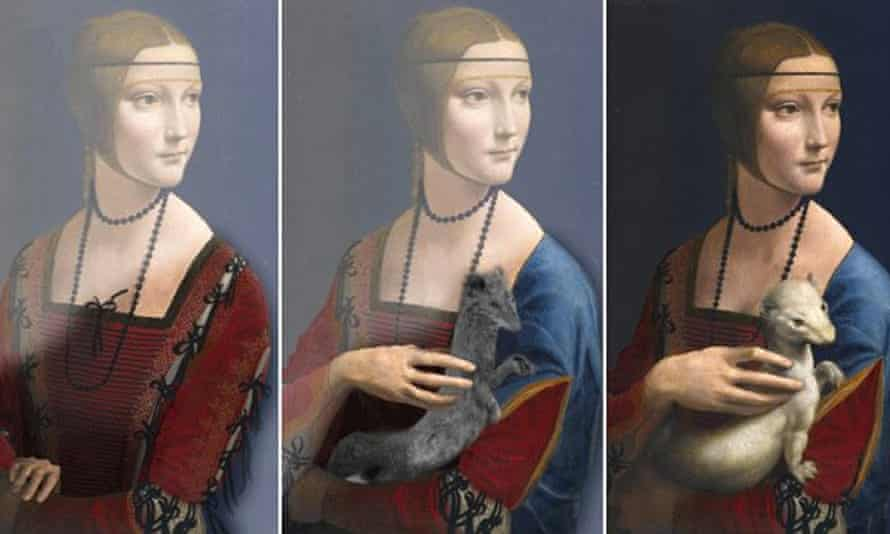 Three versions of Leonardo da Vinci's Lady with an Ermine
