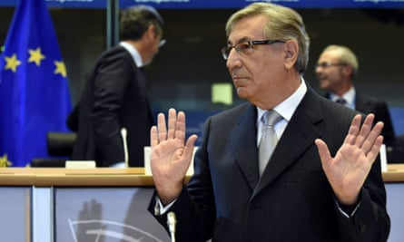 Karmenu Vella, EU commissioner-designate for environment, maritime affairs and fisheries, attends a hearing by the European Parliament in Brussels on September 29, 2014.