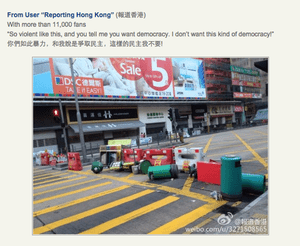 A deleted Weibo post criticising Hong Kong protestors