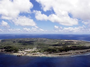 An aerial photo of Nauru showing the main settlement and airport.