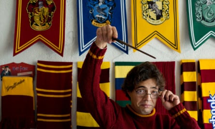 Harry Potter and the lawyer's fixation: Menahem Asher Silva Vargas, 37, jokes around with his wizard wand and glasses.