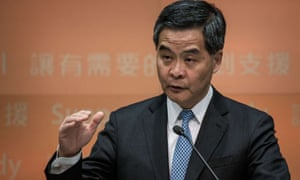 Chief Executive Leung Chun-ying gestures during a press conference after his 2014 policy address in Hong Kong on January 15, 2014.  AFP PHOTO / Philippe LopezPHILIPPE LOPEZ/AFP/Getty Images